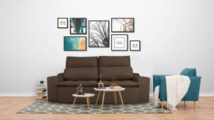Sofá 3 Lugares Connect Plus 2,10m Retrátil e Reclinável Veludo Marrom