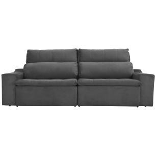 Sofá 4 Lugares Connect 2,50m Retrátil e Reclinável com Pillow Molas e USB Veludo Cinza