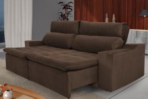 Sofá 4 Lugares Connect 2,50m Retrátil e Reclinável com Pillow Molas e USB Veludo Marrom