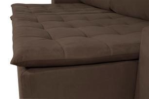 Sofá 5 Lugares Connect 2,90m Retrátil e Reclinável com Pillow e Molas Veludo Marrom