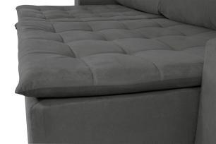 Sofá 5 Lugares Connect 2,70m  Retrátil e Reclinável com Pillow e Molas Veludo Cinza