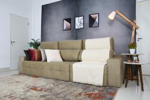 Sofá 6 Lugares Connect Retrátil e Reclinável 3,50m Veludo Bege