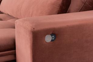 Sofá 4 Lugares Nice Retrátil e Reclinável com Usb Veludo Premium - Cobre