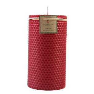 Vela Cilindrica Cera de Abelha 7,5x15 Vermelha