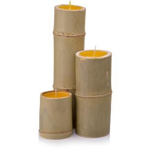 Kit de Vela de Citronela em Bambu P, M G