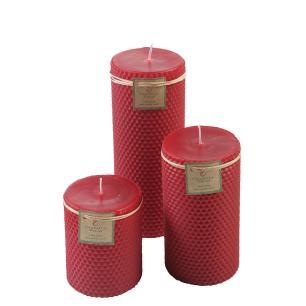 Kit de Velas Cilíndricas Cera de Abelhas Vermelha