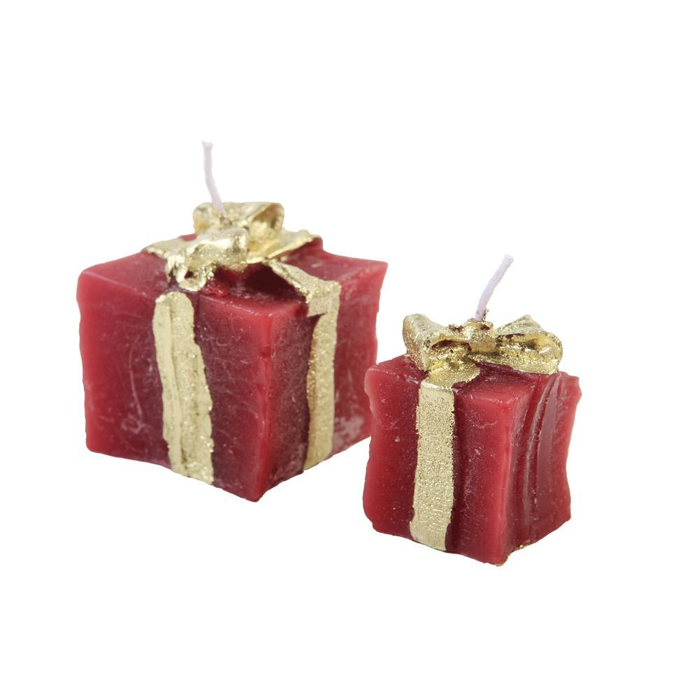 Dupla Vela Decorativa Presentinho Vermelho