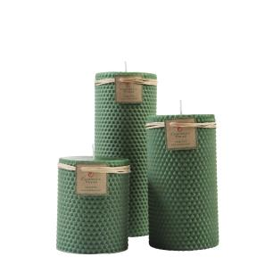 Kit de Velas Cilíndricas Cera de Abelhas Verde