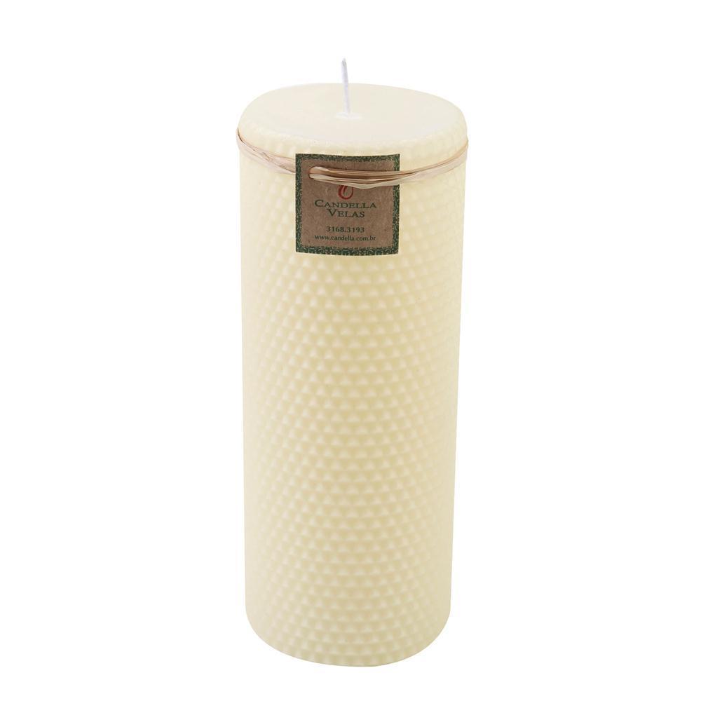 Vela Cilindrica Cera de Abelha 7,5x20 Marfim