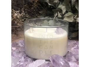 Vela Decorativa Incrustada com Cristal Deluxe - Ametista + Quartzo Branco