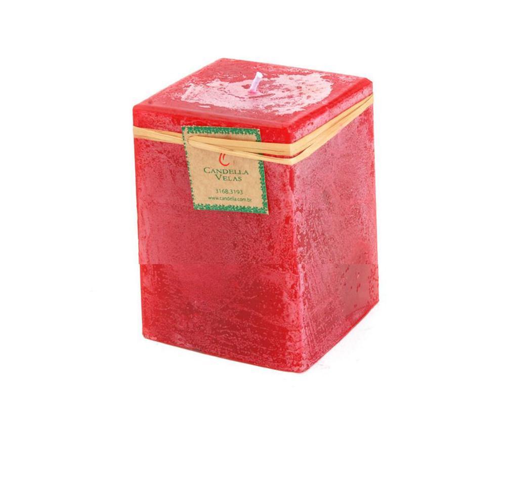 Vela Quadrada Vermelha 8x10 Cm