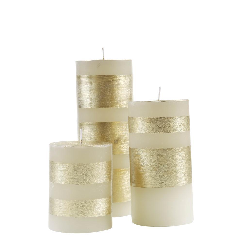 Trio de Velas Cilindricas 7,5 Faixa Dourada