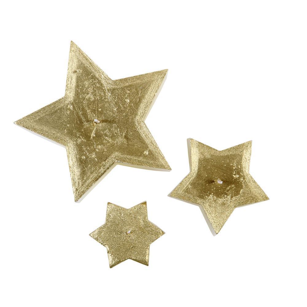 Trio de Velas Estrela Dourada