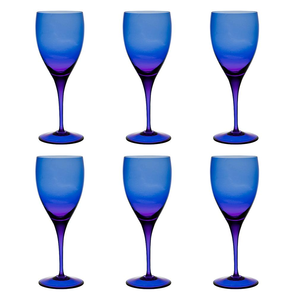 Jogo de 6 Taças Coloridas De Cristal Água 470ml Azul Escuro