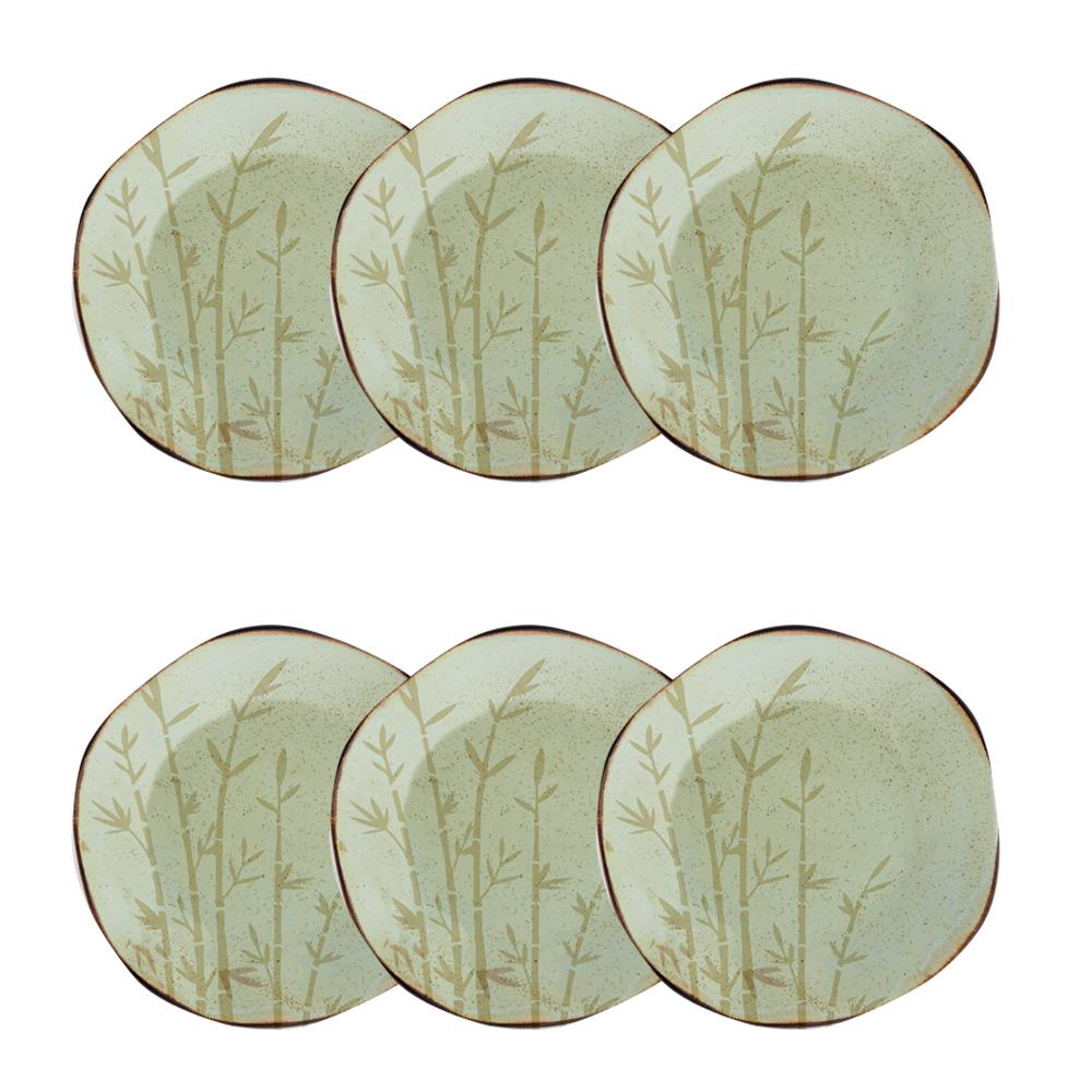 Conjunto de 6 Pratos Sobremesa 21,5cm Ryo Bambu