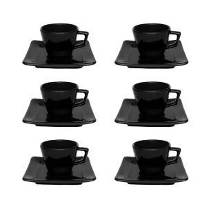 Conjunto de 6 Xícaras Pequenas 75ml Com Pires Nara Black
