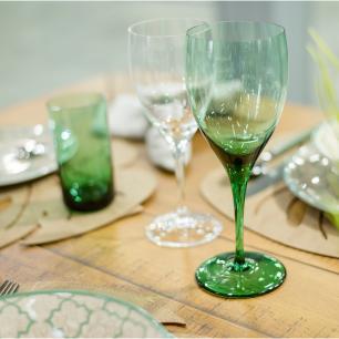 Jogo de 6 Taças De Cristal Vinho Tinto 380ml Verde Claro