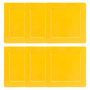 Conjunto de 6 Pratos Rasos 26x26cm Nara Yellow