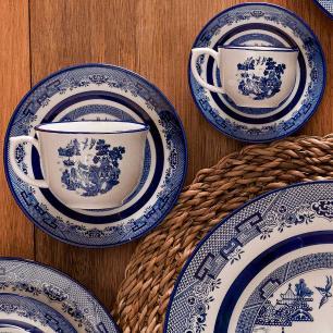 Conjunto de 6 Xicaras Grandes 240ml Com Pires Blue Willow
