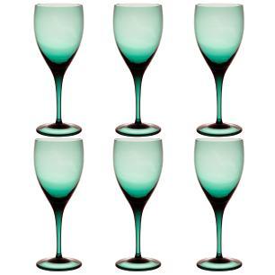 Jogo de 6 Taças Coloridas Vinho Tinto 380ml Verde Escuro