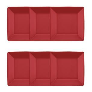 Conjunto de 6 Pratos Fundos 21x21cm Quartier Red