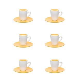 Conjunto de 6 Xícaras Expresso 75ml Com Pires Amarelo/Branco