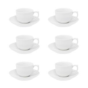 Conjunto de 6 Xícaras Pequenas 100ml Com Pires White