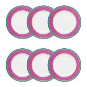 Conjunto de 6 Pratos Fundos 23,5cm Flamingo Joia Brasileira