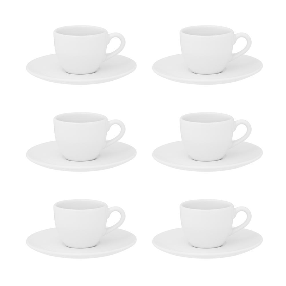 Conjunto de 6 Xícaras Pequenas 75ml Com Pires Coup White