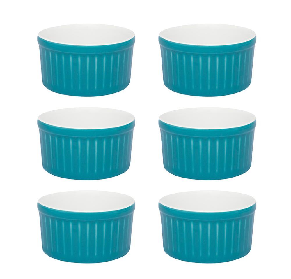 Conjunto de 6 Ramequins 8x4cm 100ml Azul e Branco