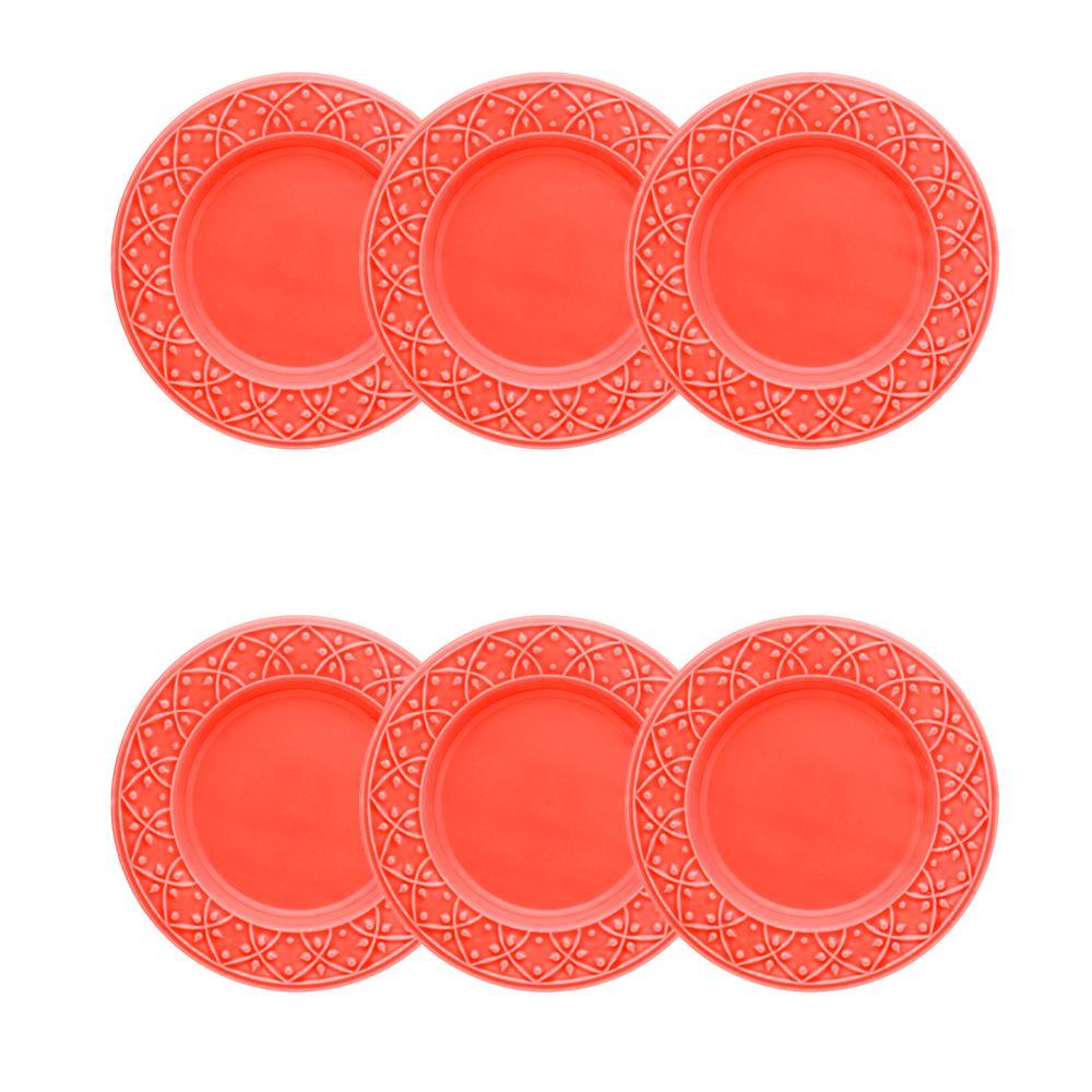 Conjunto de 6 Pratos Sobremesa 20cm Mendi Coral