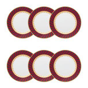 Conjunto de 6 Pratos Sobremesa 22cm Flamingo Sao Basilio