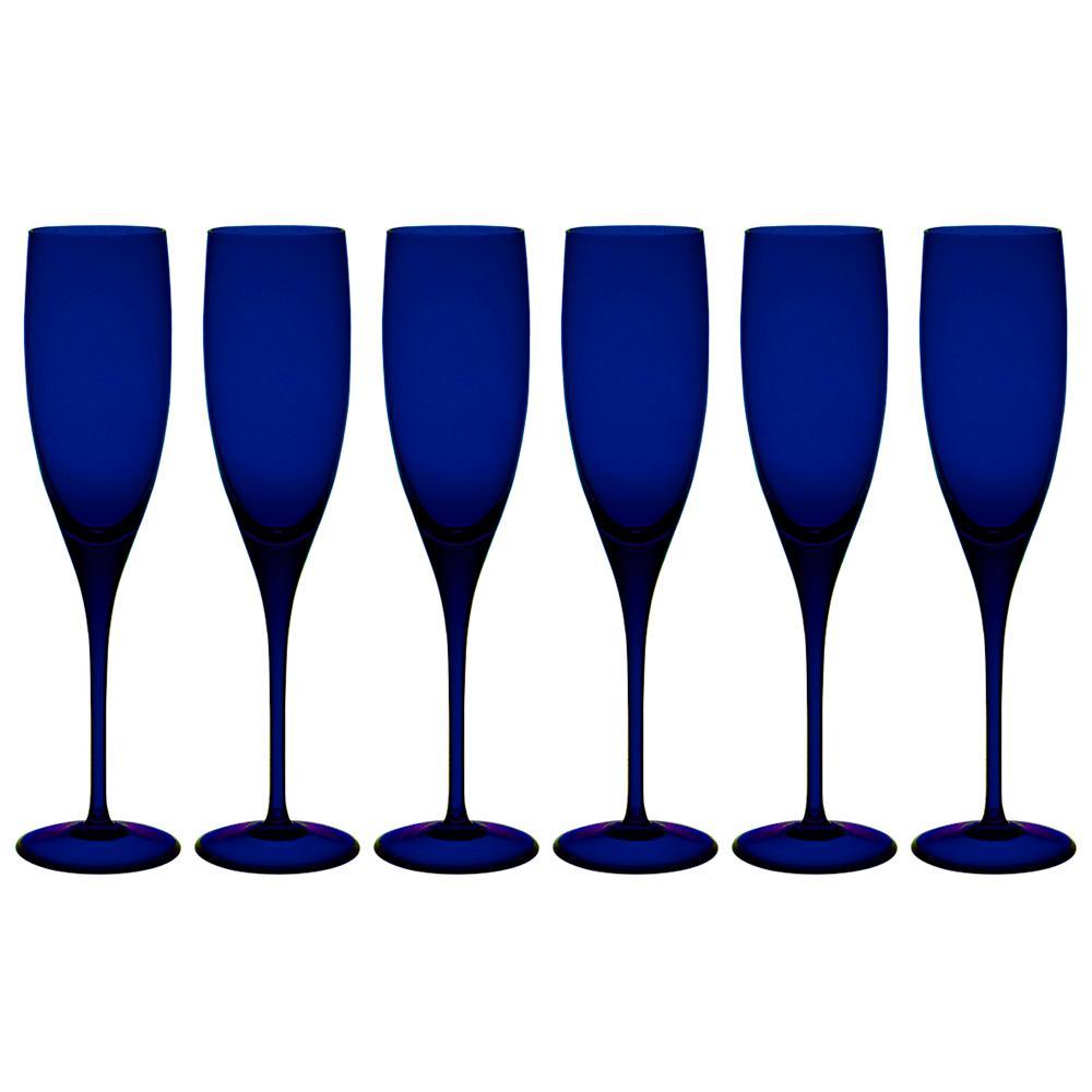 Jogo de 6 Taças De Cristal Espumante 240ml Azul Intenso