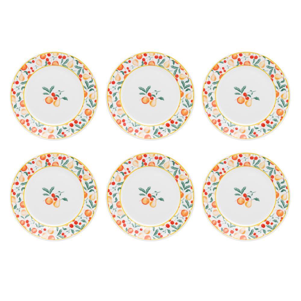 Conjunto de 6 Pratos Sobremesa 22cm Flamingo Fruits