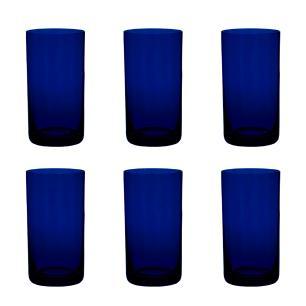 Jogo de 6 Copos Coloridos De Cristal Água 235ml Azul Intenso