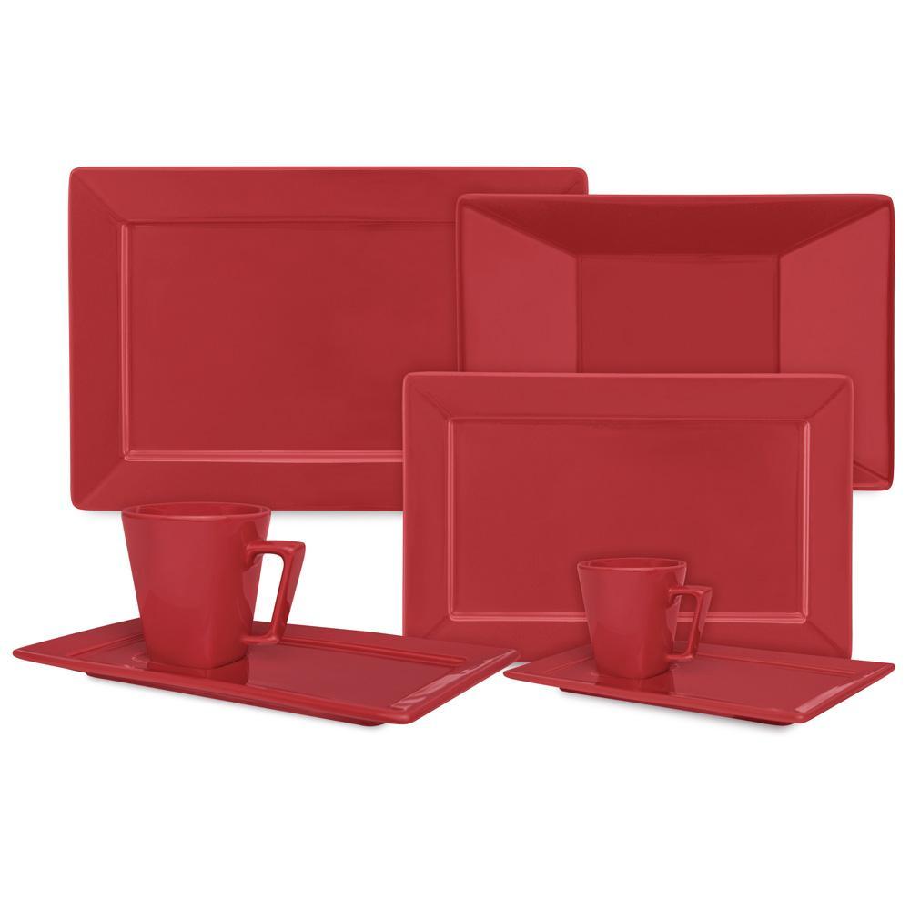 Aparelho de Jantar Chá E Café 42 Peças Retangular Red