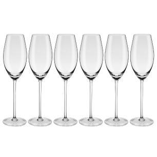 Conjunto de 6 Taças de Cristal Espumante 230ml Profissional