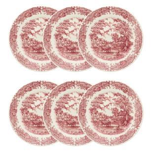 Conjunto de 6 Pratos Rasos 24cm Vilarejo