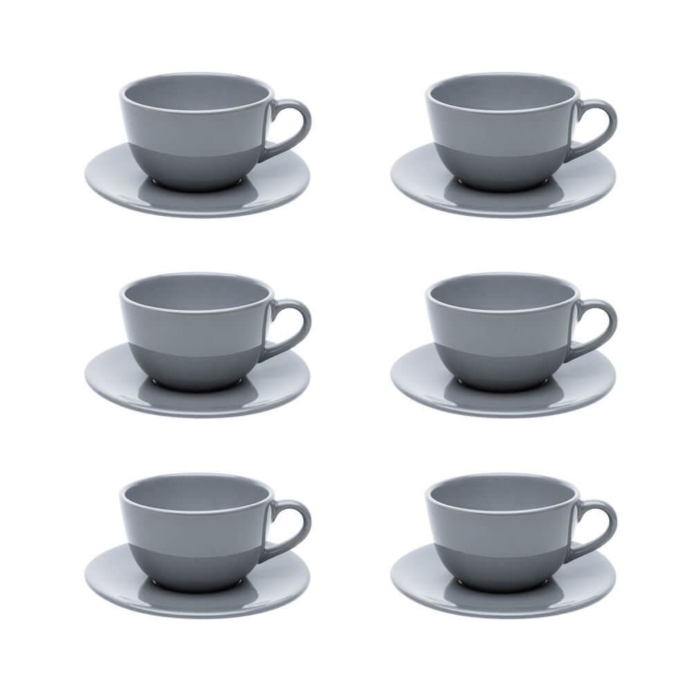 Conjunto de 6 Xícaras Grandes 200ml Com Pires Unni Grey
