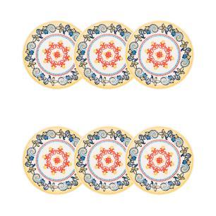 Conjunto de 6 Pratos Sobremesa 20cm Floreal La Pollera