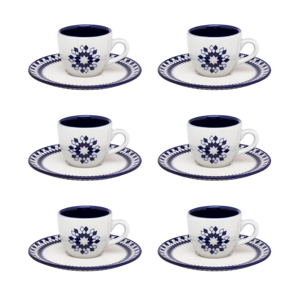 Conjunto de 6 Xícaras Pequenas 75ml Com Pires Coup Chess