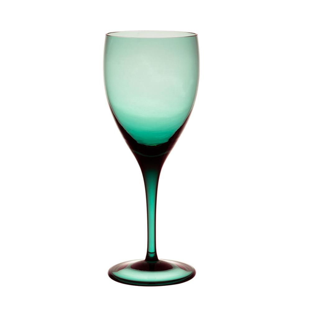 Jogo de 6 Taças Coloridas De Cristal Água 470ml Verde Escuro