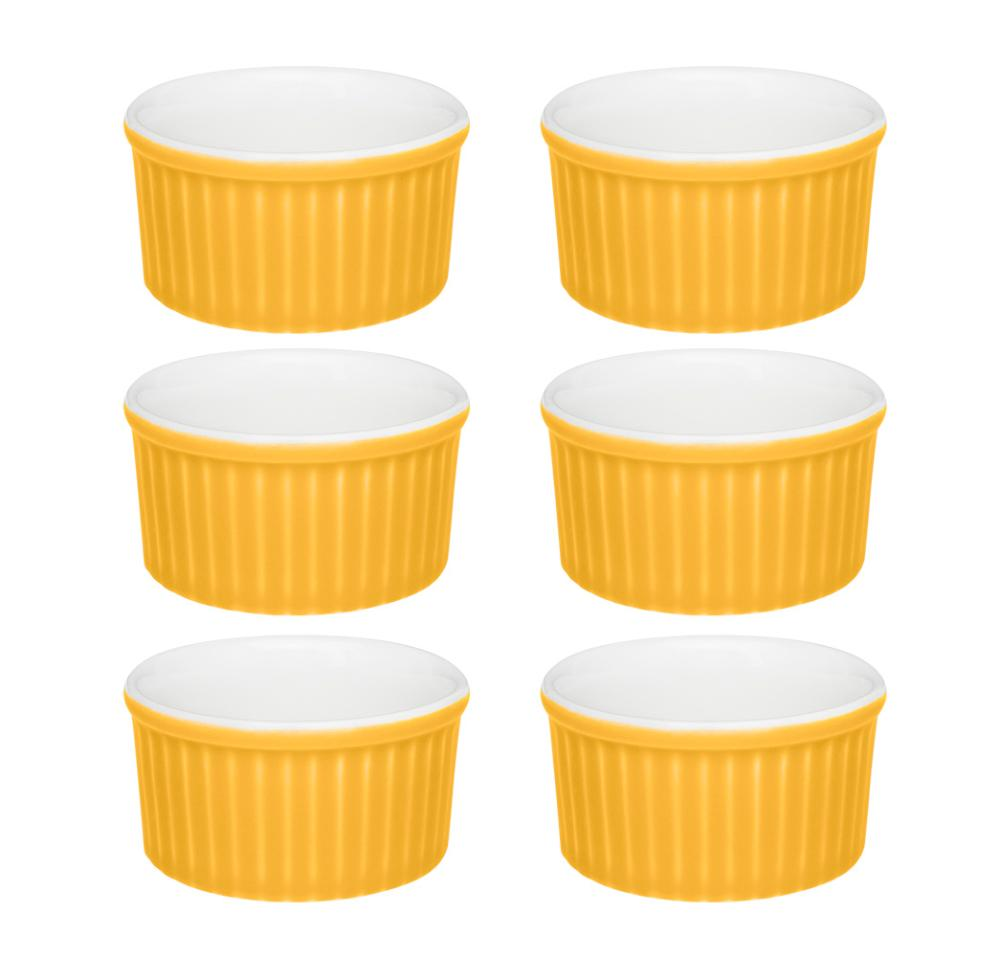 Conjunto de 6 Ramequins 8x4cm 100ml Amarelo e Branco