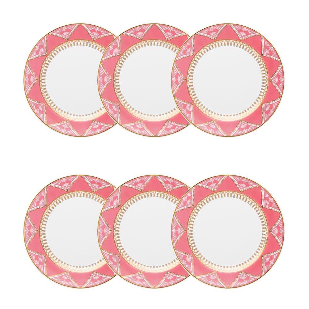 Conjunto de 6 Pratos Sobremesa 22cm Flamingo Macrame