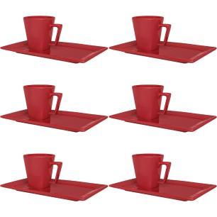 Conjunto de 6 Xícaras Grandes 200ml Com Pires Retangular Red