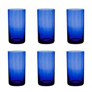 Jogo de 6 Copos Coloridos De Cristal Água 235ml Azul Escuro