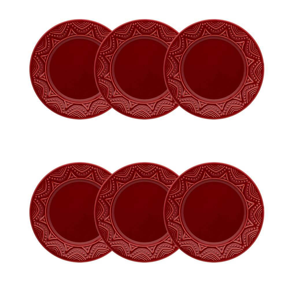 Conjunto de 6 Pratos Sobremesa 20cm Serena Veludo