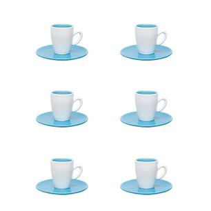 Conjunto de 6 Xícaras Expresso 75ml Com Pires Azul/Branco