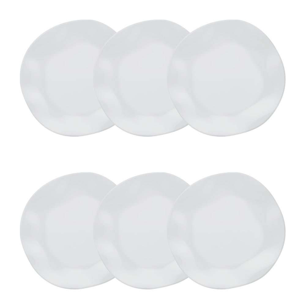 Conjunto de 6 Pratos Fundos 22,5cm Ryo White