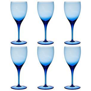 Jogo de 6 Taças Coloridas Vinho Tinto 380ml Azul Claro
